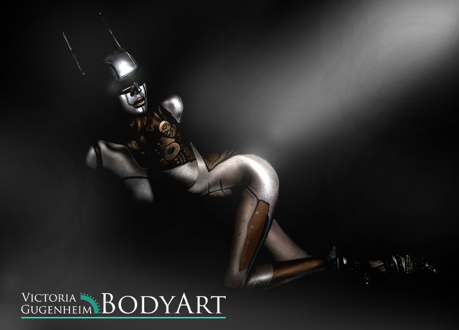 Silver robotic bodypainting.  Bodypainters: Victoria Gugenheim & Wolf's Bodymagic